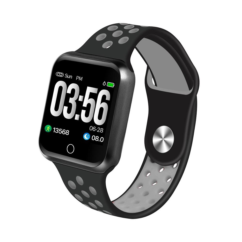 S226 Smart Watch Fitness Tracker Heart Rate Monitor Smart Bracelet Blood Pressure Pedometer  Black shell + black gray strap