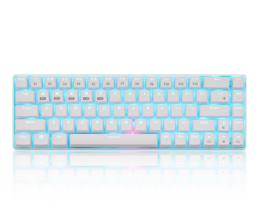 68-key Wireless Bluetooth Mechanical Computer Keyboard Plug And Play Luminous Keyboard White shell ice blue light