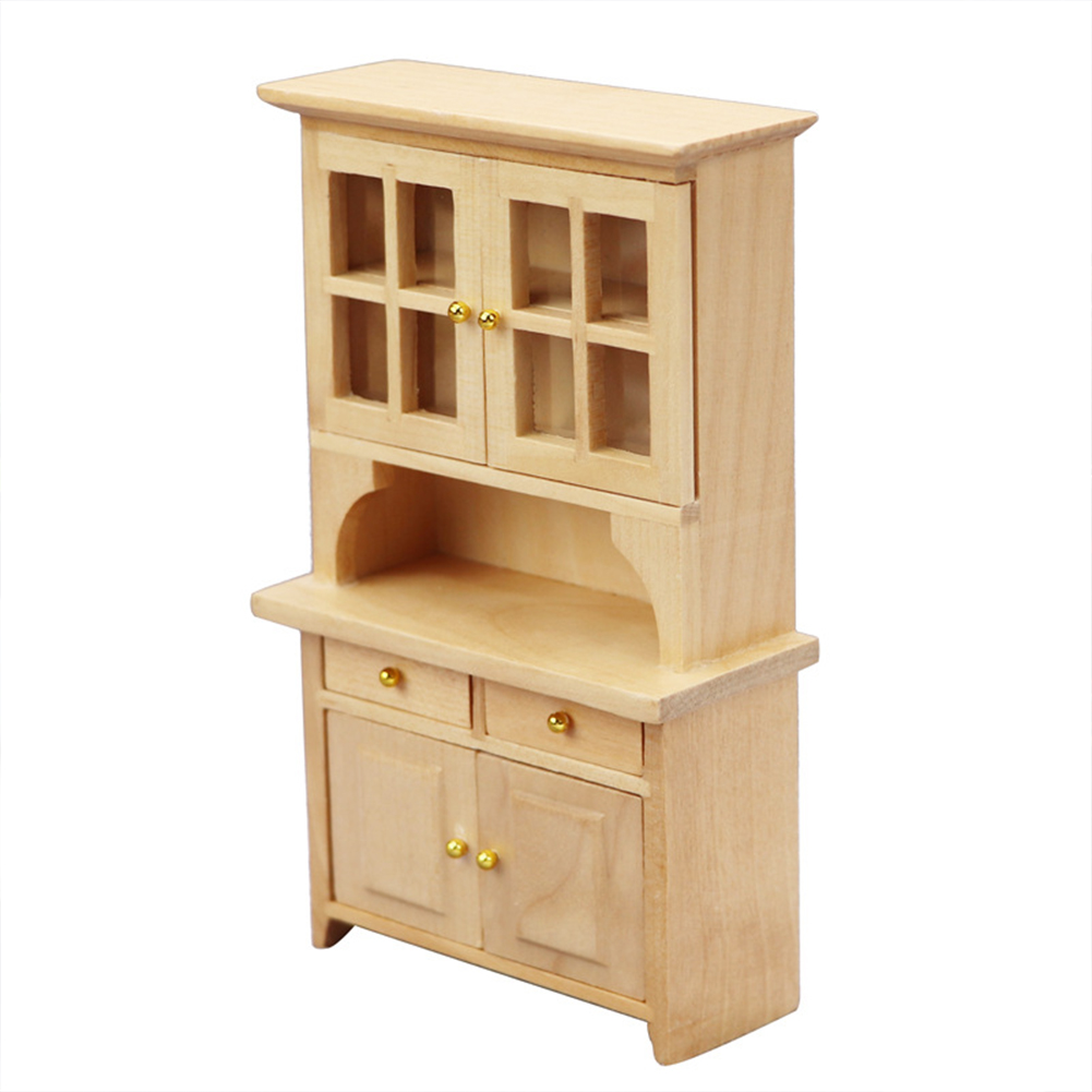 Wooden 1:12  Mini  Doll  House  Vertical  Cabinet Study Room Micro Scene Bookcase Bedroom Furniture Wood color