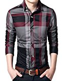 [US Direct] Young Horse Men's Cotton Plaid Button-down Long Sleeve Spring Shirt