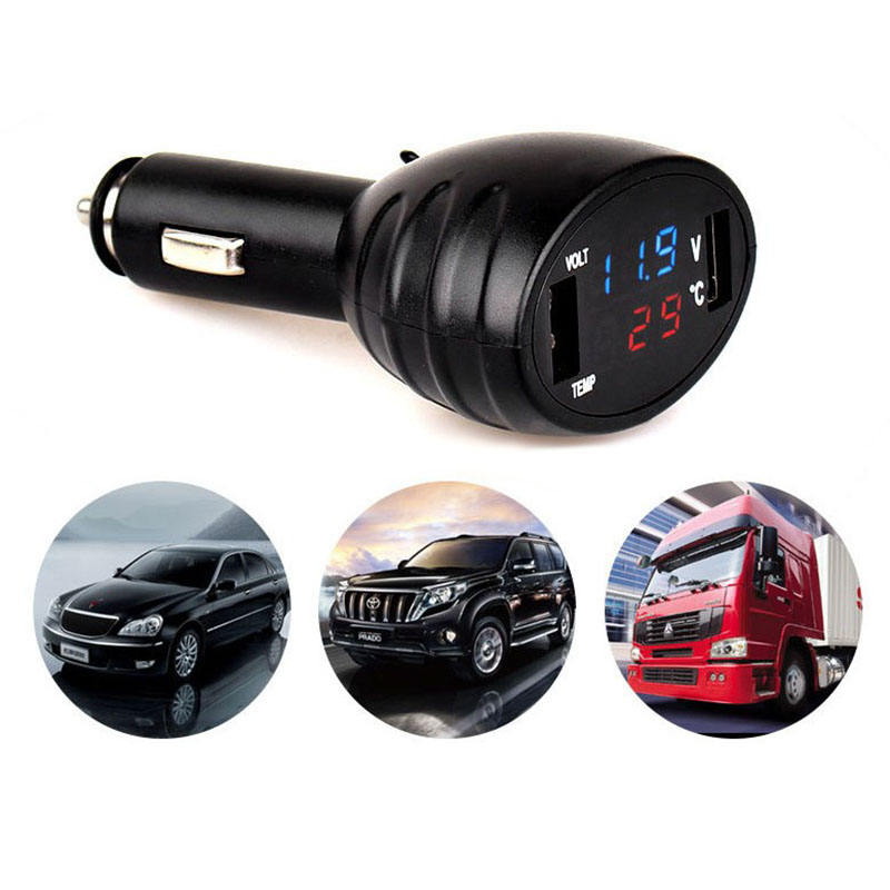 Car Digital LED Thermometer Voltmeter Auto Dual USB Charger Battery Monitor Temperature Gauge blue red light