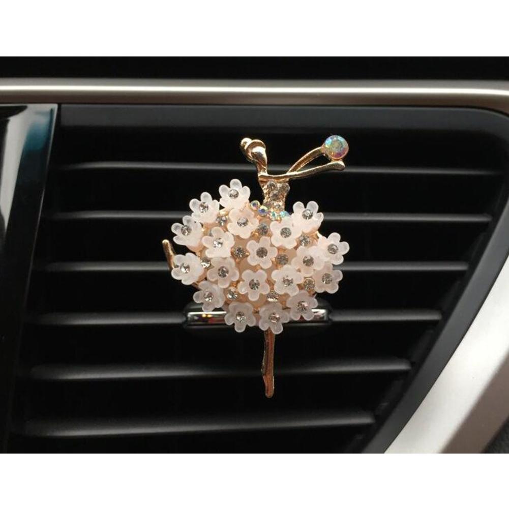 Car Air Vent Decoration Car Interior Decoration Rhinestone Ballet Girl Car Air Freshener Clip with Fragrance Cotton Pads  white