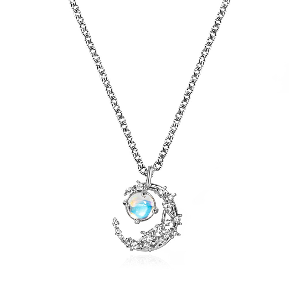 Moonstone  Pendant  Necklace Creative Simple Moon Diamond Clavicle Chain Jewelry Silver