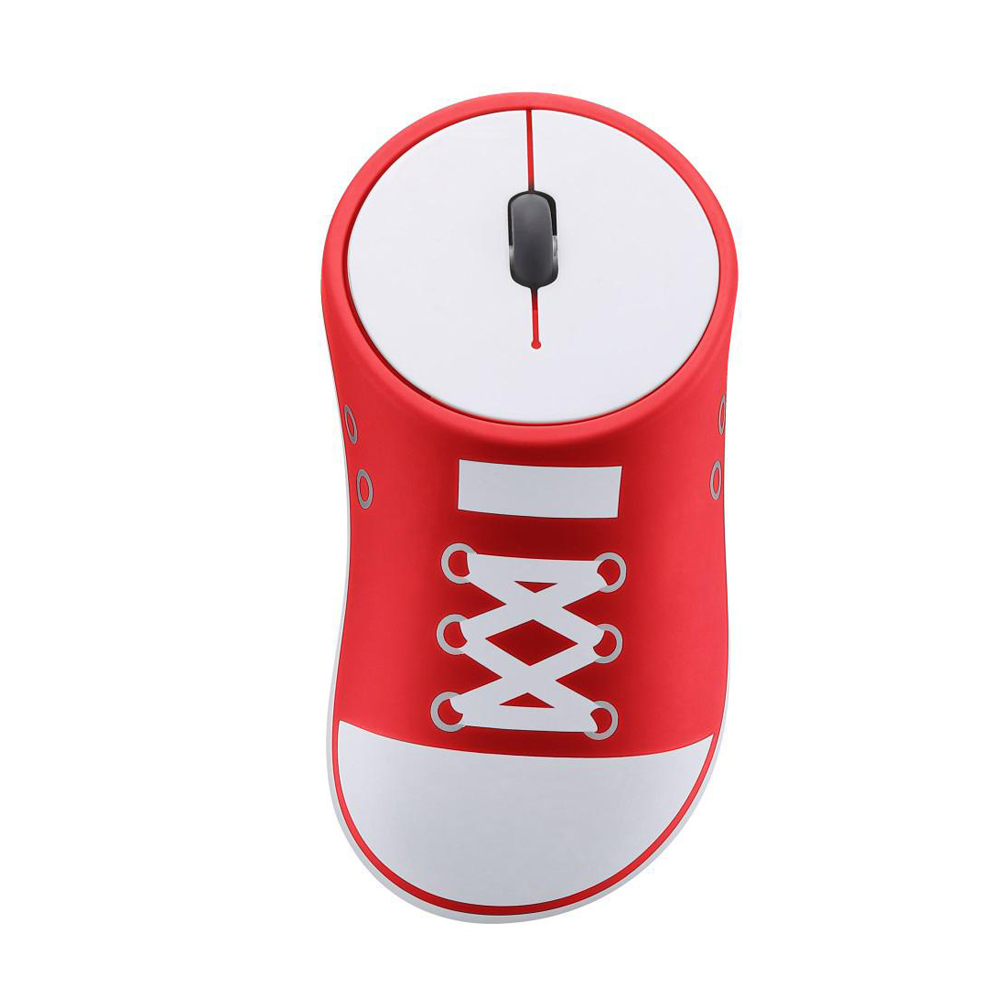 HobbyLane Wireless Mouse Shoes Shaped Portable Mobile Optical Mouse With USB Receiver 2.4GHz Ergonomic Gaming Mouse Red+White