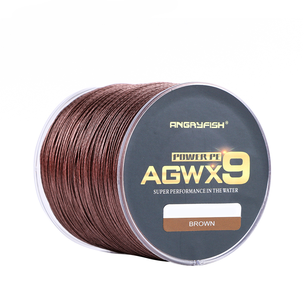 ANGRYFISH Diominate X9 PE Line 9 Strands Weaves Braided 500m/547yds Super Strong Fishing Line 15LB-100LB Brown 1.0#: 0.16mm/25LB