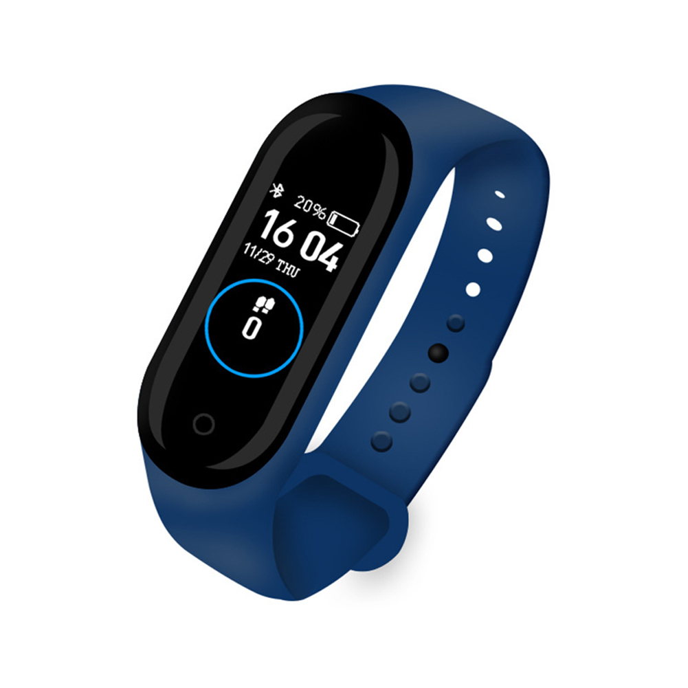 M4 Smart Band Sport Fitness Pedometer Bracelet Blood Pressure Wristband Walk Step Counter Cable charge-blue