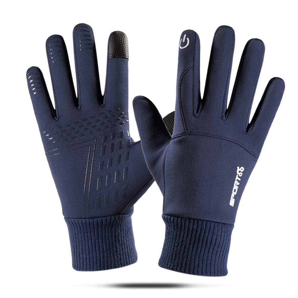 Touch Screen Running Gloves Lightweight Non-slip Warm Villus Gloves Men Women Waterproof Motorcycle Gloves blue_One size