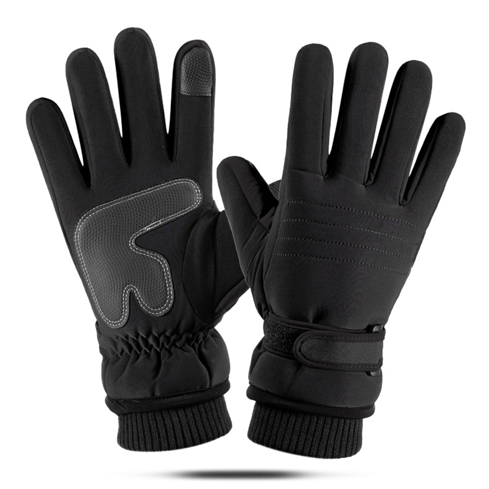 Touch Screen Outdoor Sports Ski Riding Bike Gloves Winter Waterproof Cycling Full Finger Warm Pigskin Gloves   black_One size