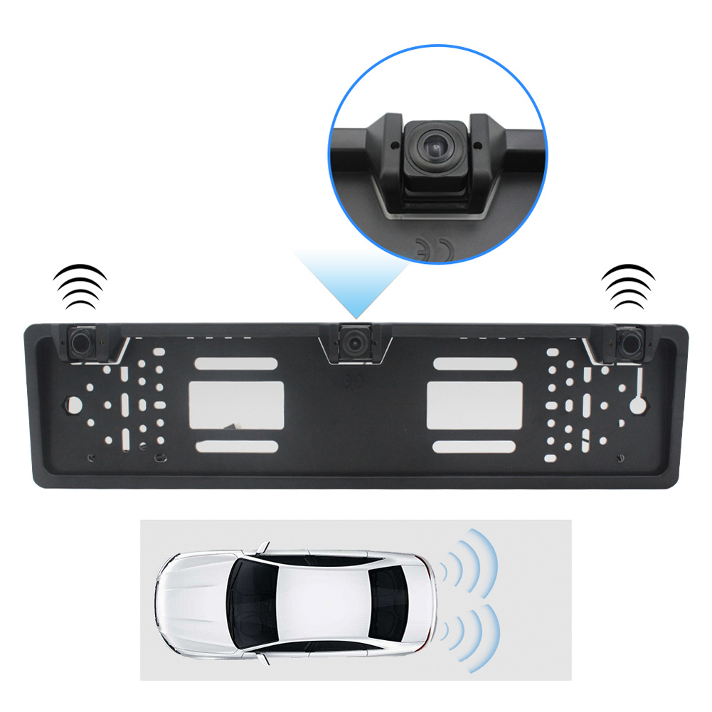 Eu Europe Car License Plate Frame Rear View Camera Car Parking Sensor Kit black