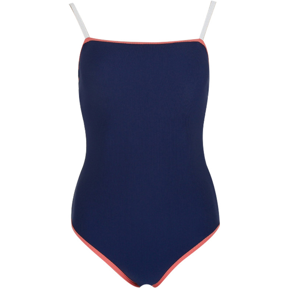 Women Swimsuit Nylon Solid Color Slimming One-piece Open Back Bikini Swimsuit blue_xl