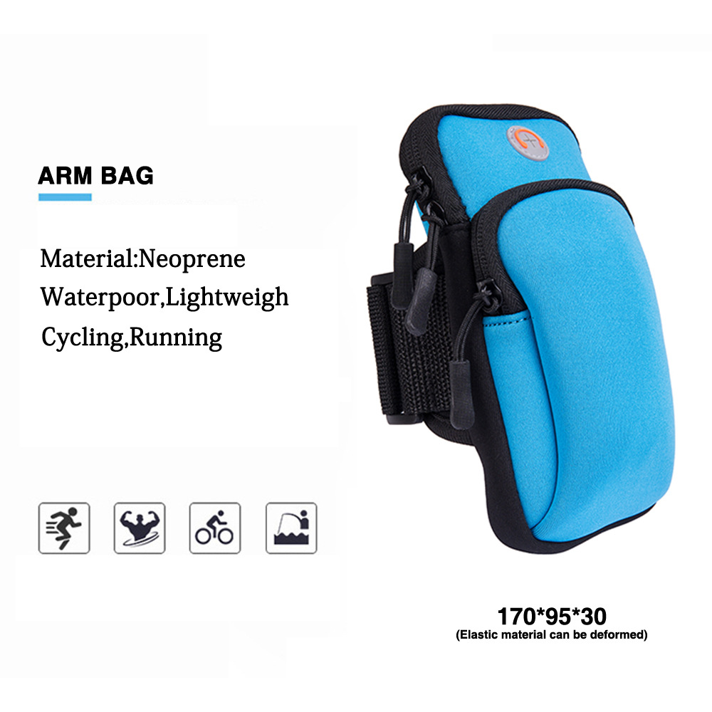 Mobile Phone Arm Bag Marathon Night Running Mobile Phone Arm Pack Bicycle Equipment Compatible Universal Waterproof Sports Bracket blue