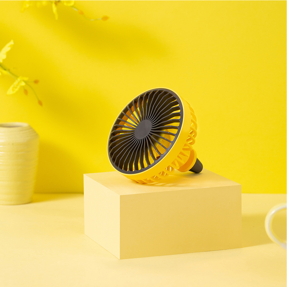 LED Car Air Outlet Fan USB Portable Mini Fan yellow