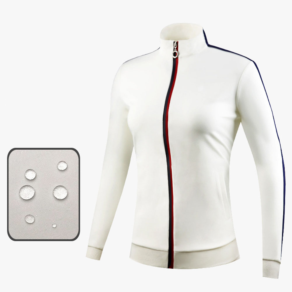 Golf Clothes Autumn Winter Wind Coat Female Sport Jacket Long Sleeve Top creamy-white_M