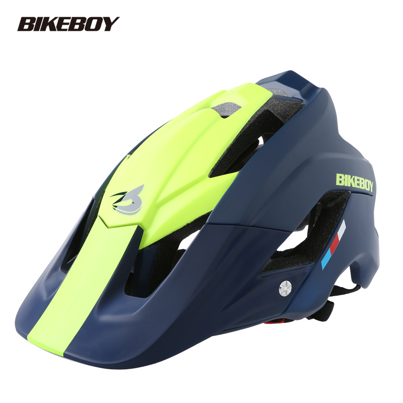 Bikeboy Bicycle Mountain Bike Helmet Riding Integrally Molded Bicycle Highway Men And Women Safe Accessories Equipment Blue yellow_Free size