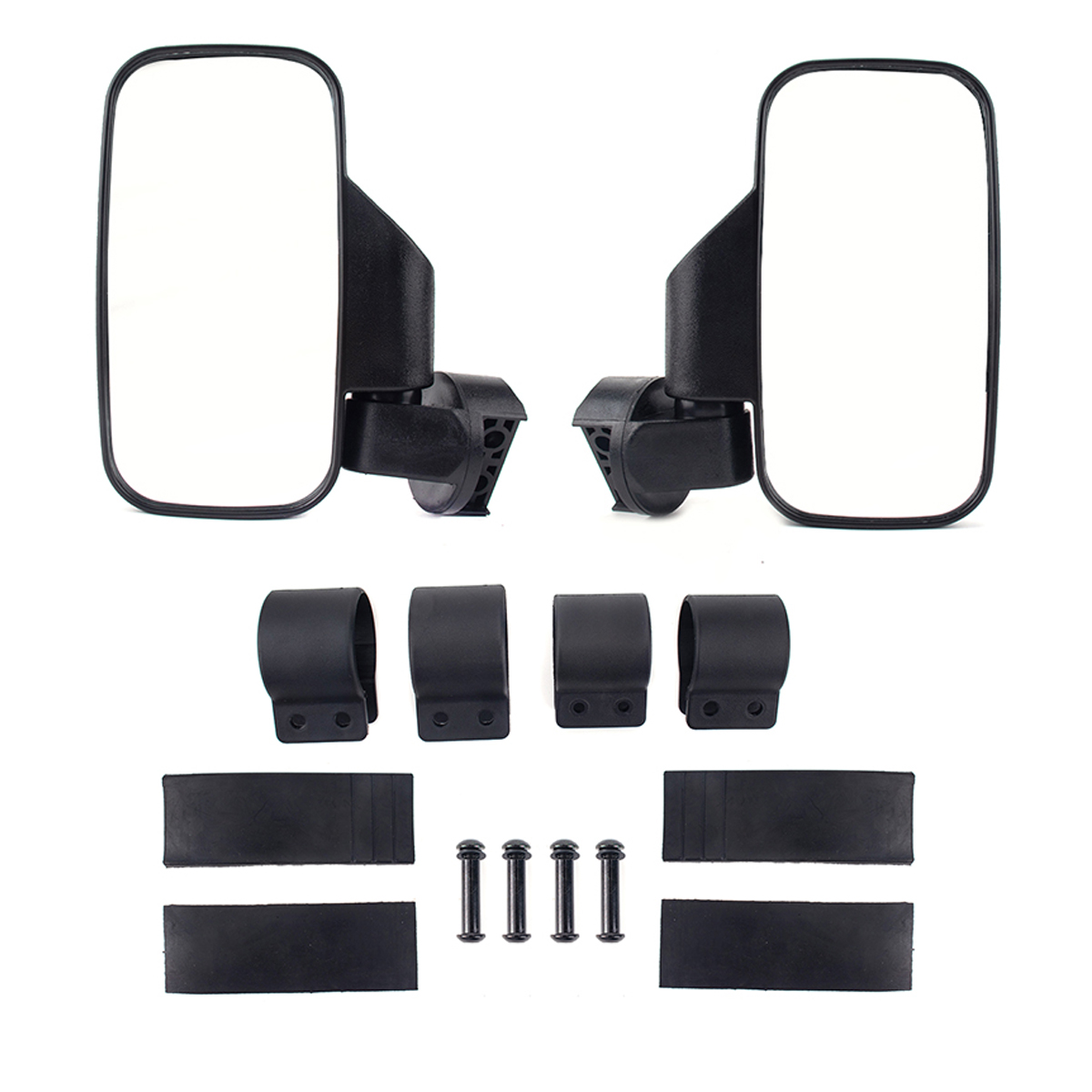 Rear Side View Mirror For 1.75 inch 2 inch Clamp UTV ATV Polaris Ranger 400 500 800 XP black