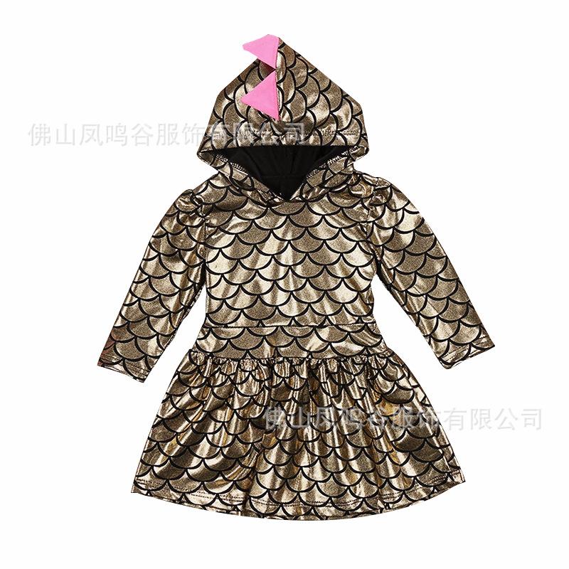 Kids Girl Long Sleeve Fish Scales Dress Cute Casual Hooded Dress