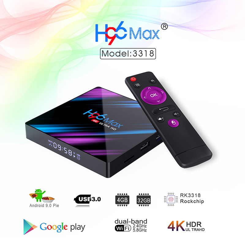 H96 max 3318 Quad-Core 2+16G/4+32G Android 9.0 HD Smart Network Media Player TV Box AU plug