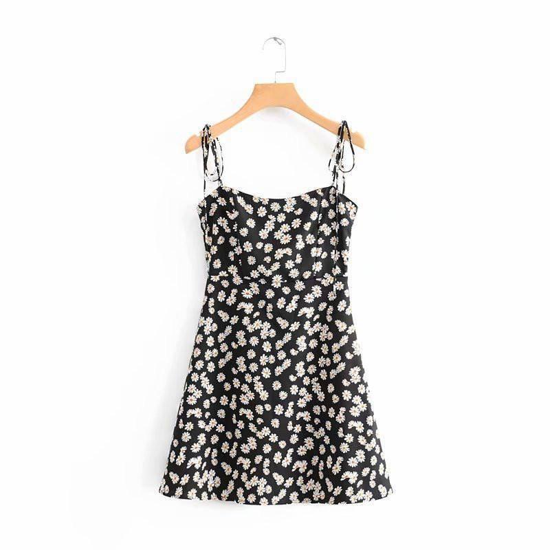 Women Sling Dress Slim High Waist Daisy Print Retro Summer A-line Short Long Dress Short dress_S