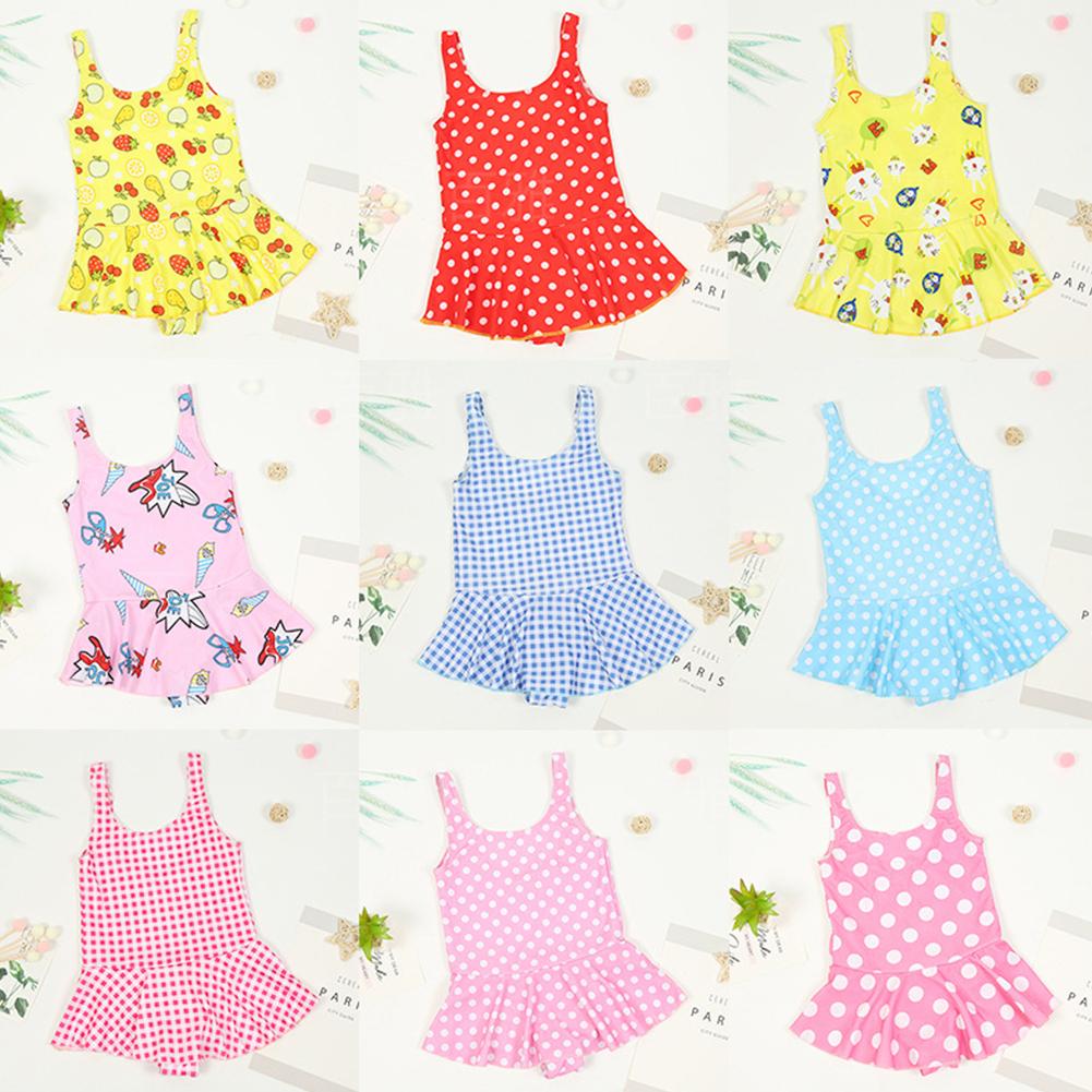 Kid Girl Jumpsuit Swimwear Sling Dress Backless Swimsuit Beach Wear for 5-7Y Random Color Random Color_One size (55 yards)