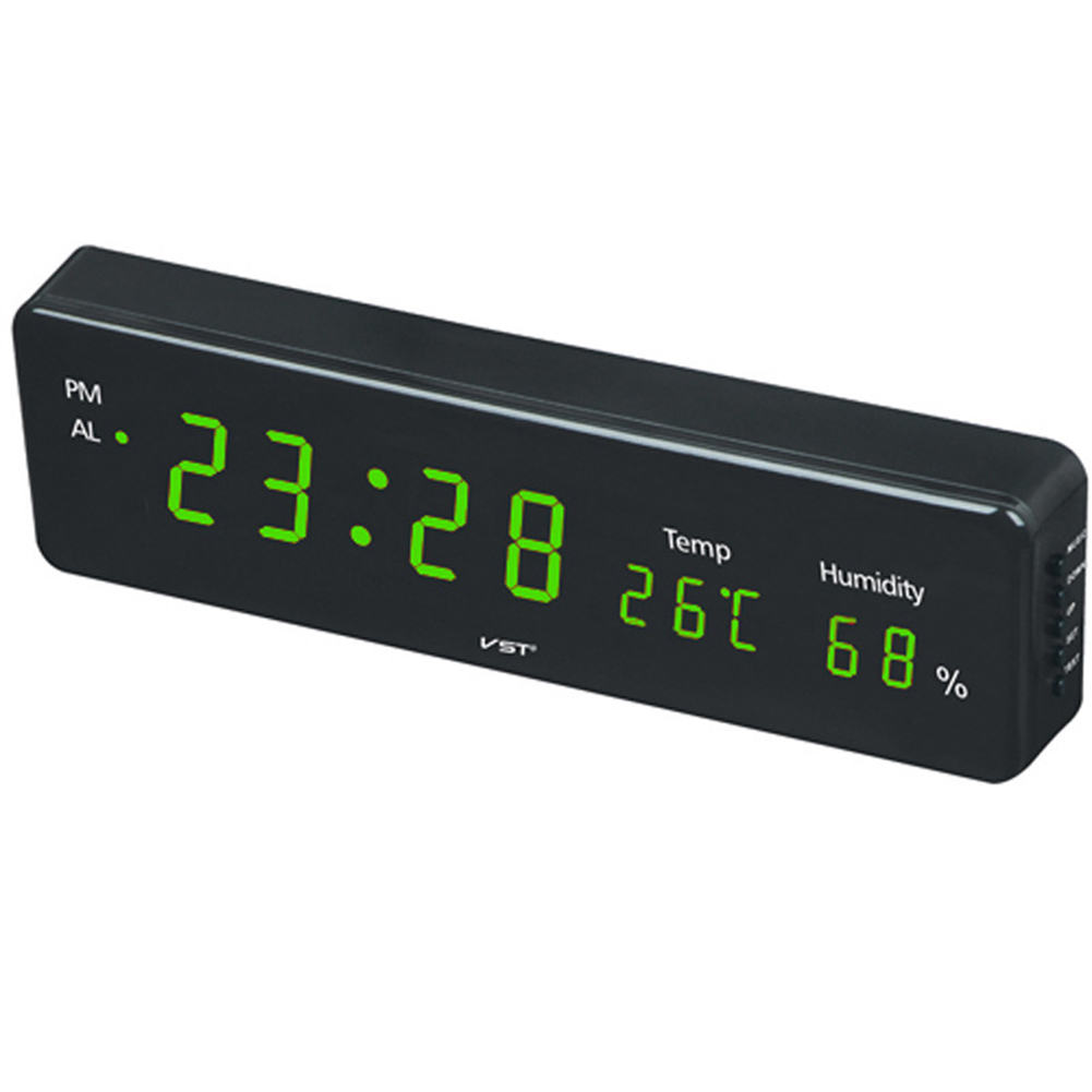 Electronic LED Digital Wall Clock with Temperature Humidity Display Home Clocks European Plug green