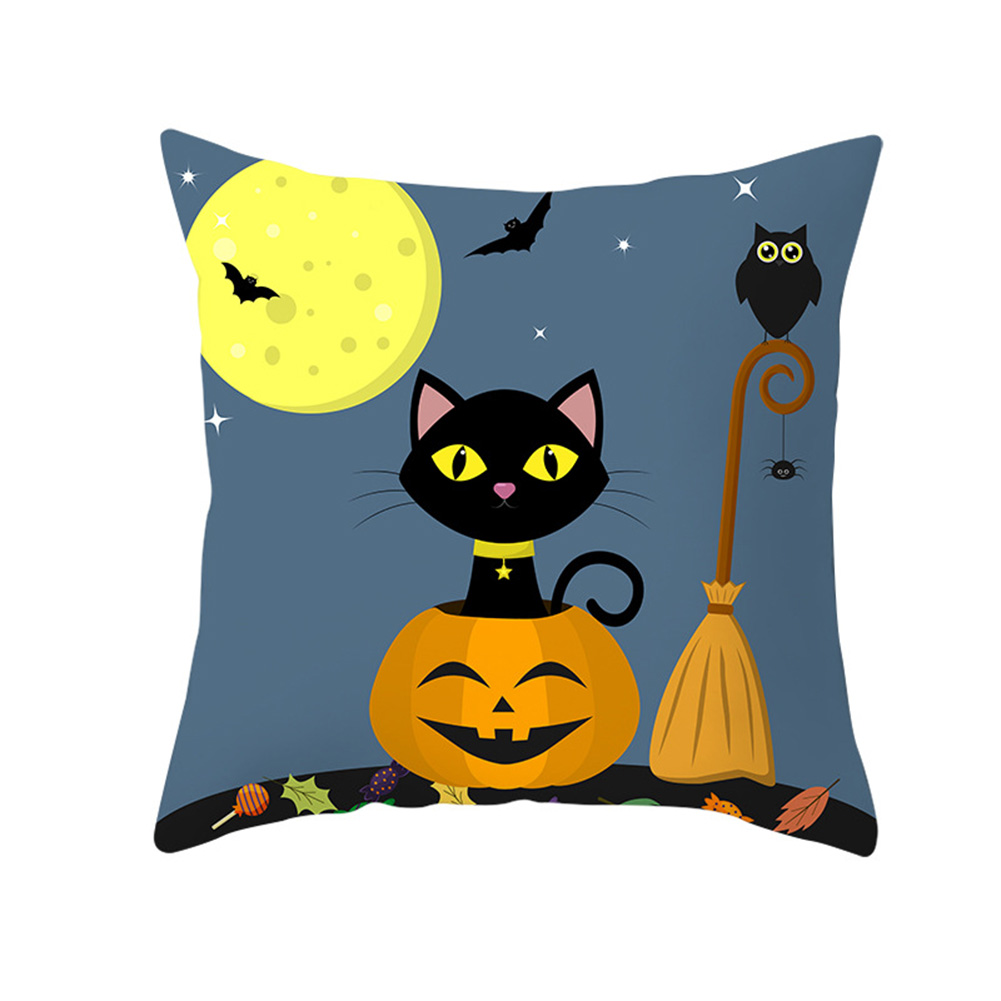 Halloween Series Pumpkin/Black Cat Printing Throw Pillow Cover Decor for Home Party TPR181-31_45*45cm (without pillow)