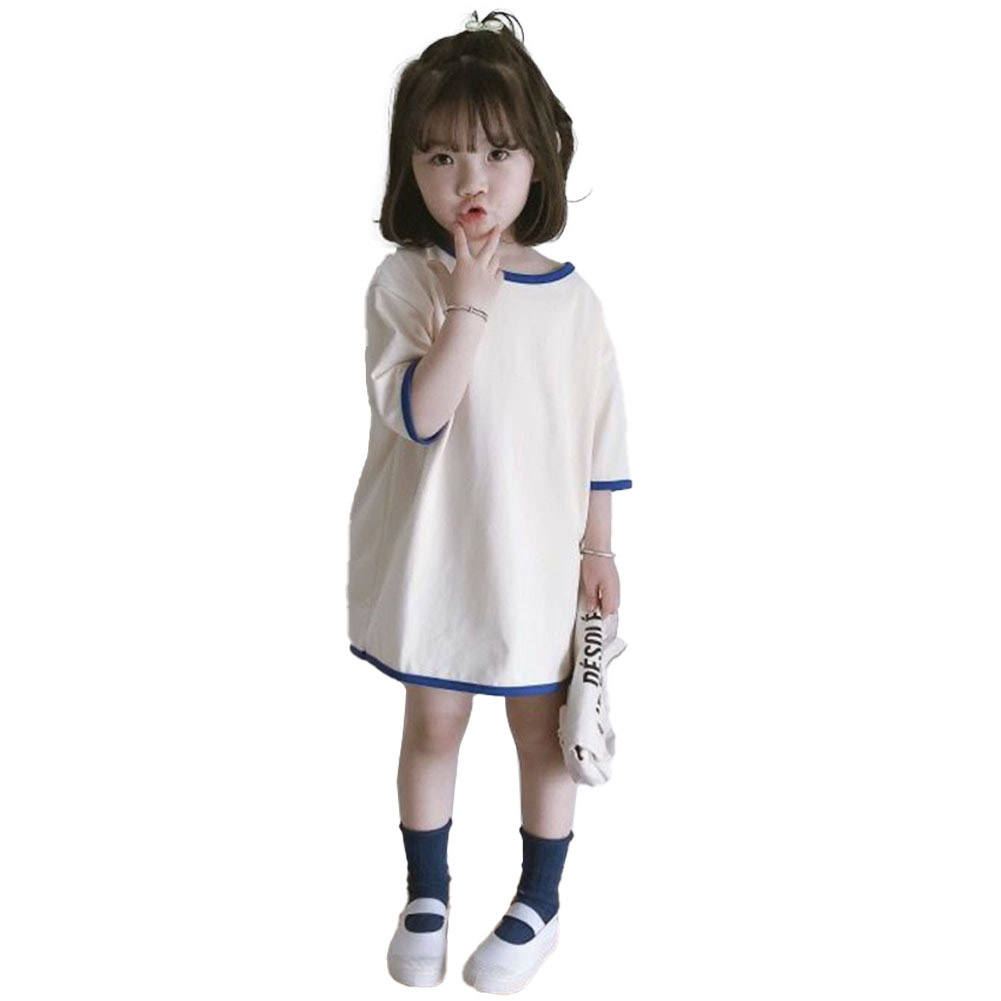 Girls Dress Mid-length Solid Color Casual Short-sleeved Dress for 3-6 Years Old Kids white_130cm