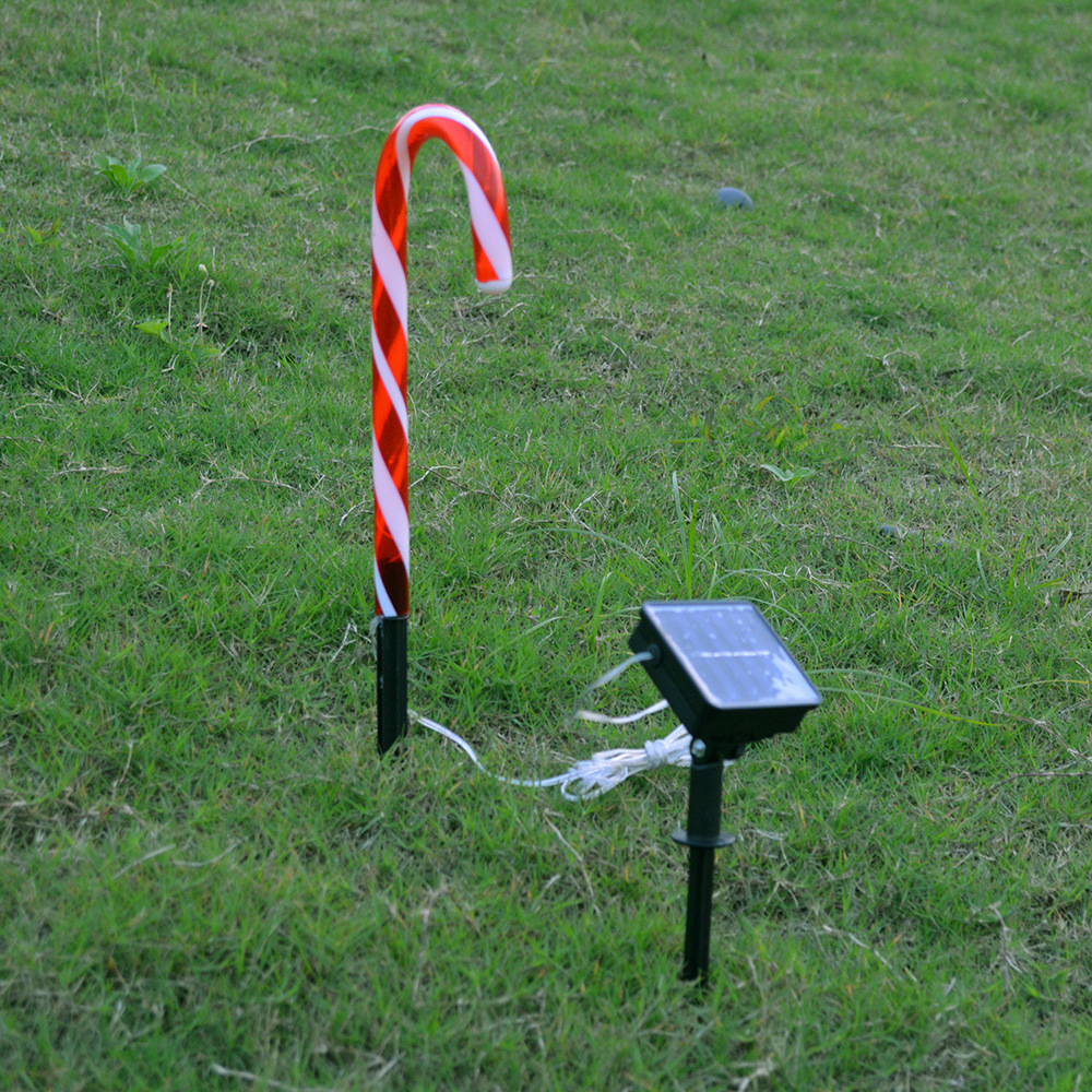 Waterproof Solar Powered Christmas Pathway Candy Cane LED Garden Light solar cane light