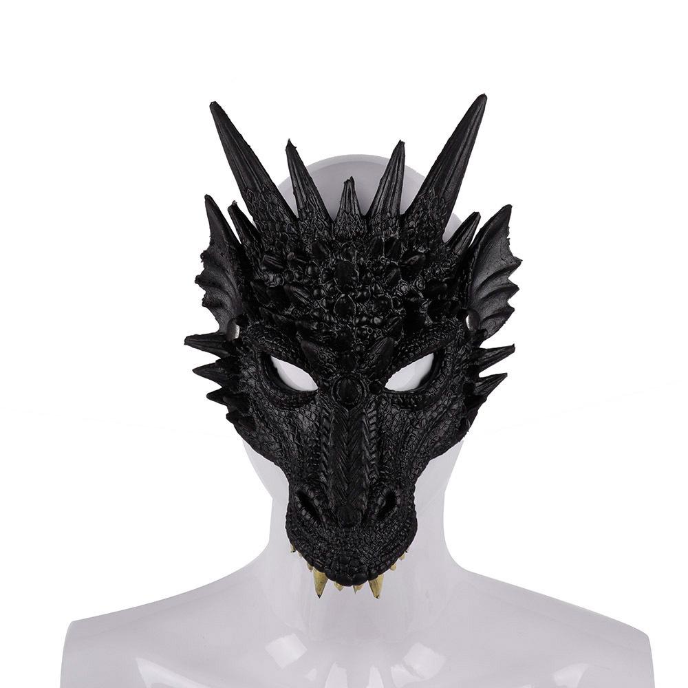 Halloween Carnival Party PU Foam 3D Animal Dragon Mask Black dragon mask