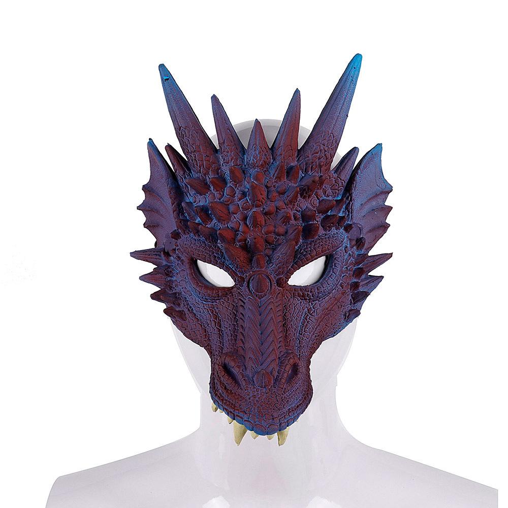 Halloween Carnival Party PU Foam 3D Animal Dragon Mask Blue purple dragon mask