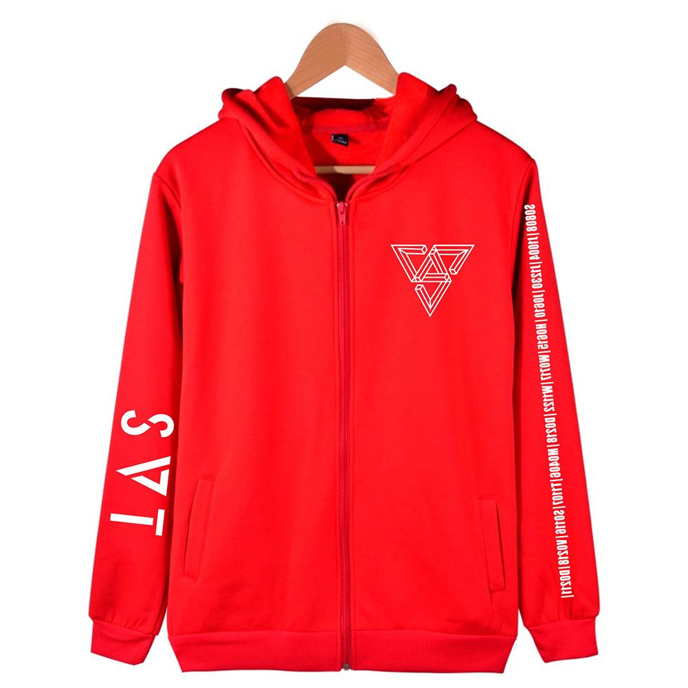 Women Men SEVENTEEN SVT Concert Autumn Zipper Sweater Coat Jacket Tops red_XL