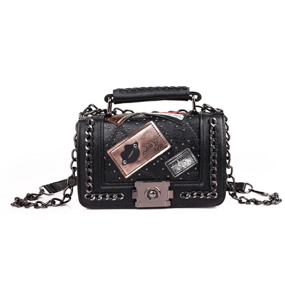Women's One Shoulder Pack Lock Chain Rivet Small Square Messenger Bag black