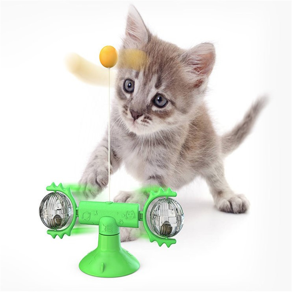 Cat  Carousel Pinwheel Pet Toy With Suctions Pet Funny Relieving Supplies Green
