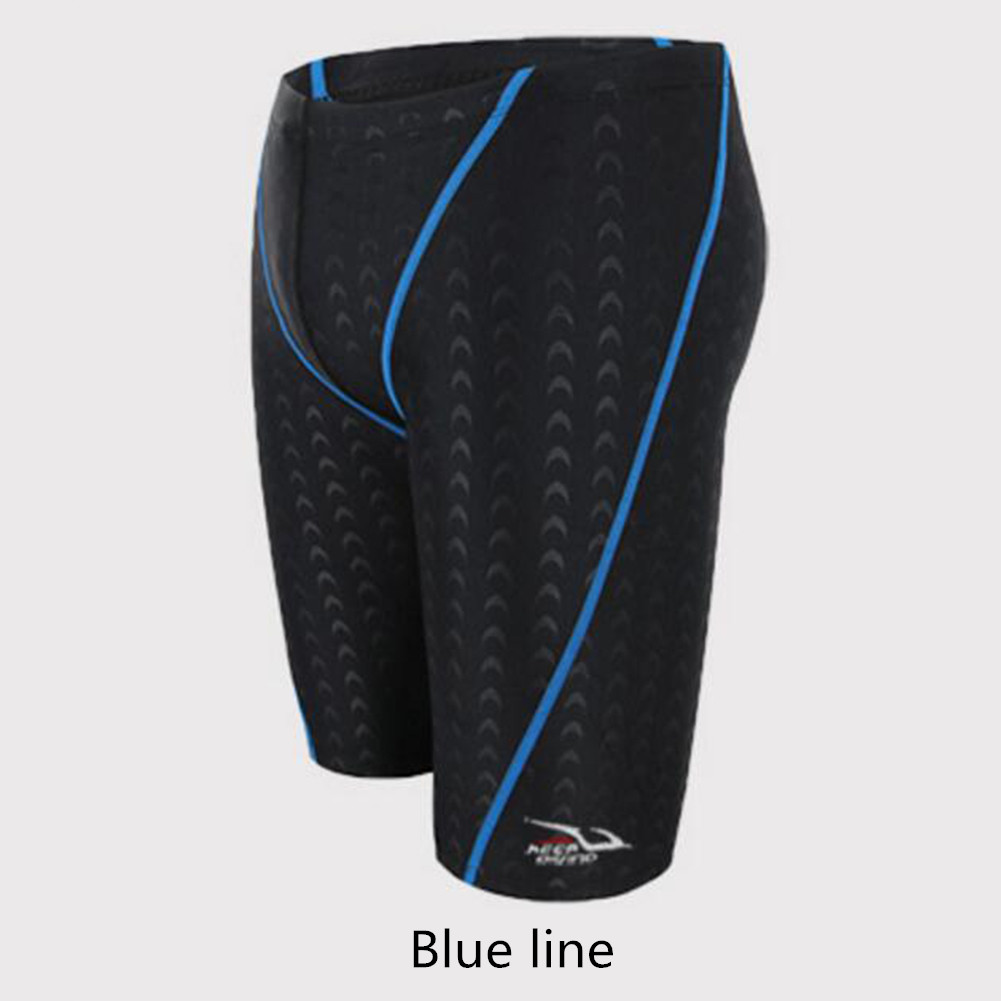 Male Professional Breathable Swim Boxer Half Pants Swimming Trunks Comfortable Hot Spring Swim Wear Diving Suit Gift blue line_XL