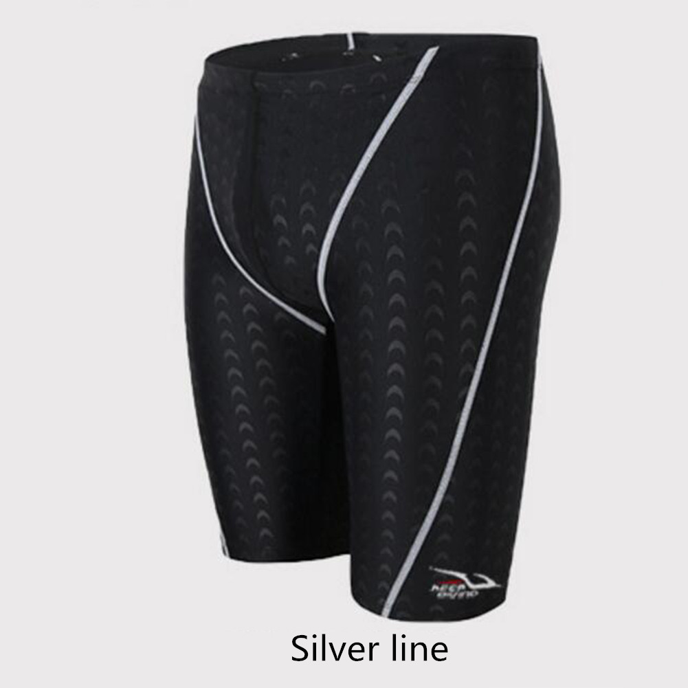 Male Professional Breathable Swim Boxer Half Pants Swimming Trunks Comfortable Hot Spring Swim Wear Diving Suit Gift Silver line_4XL