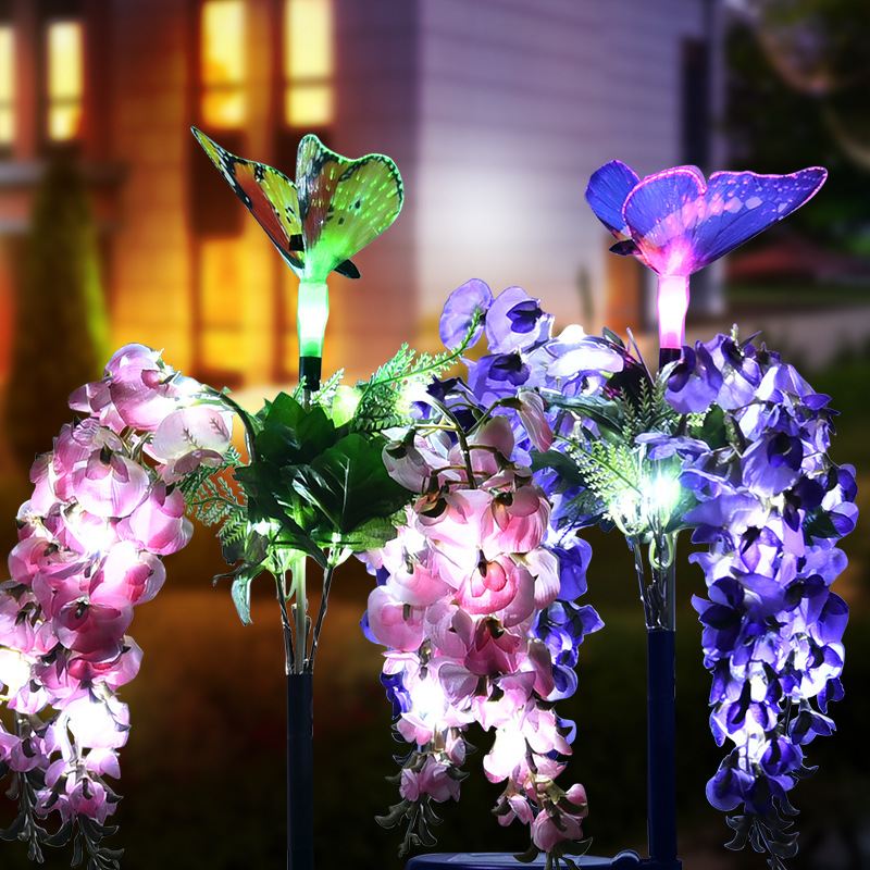 2Pcs Solar Bean Flower Shape Lawn Light for Landscape Garden Decoration Pink + purple