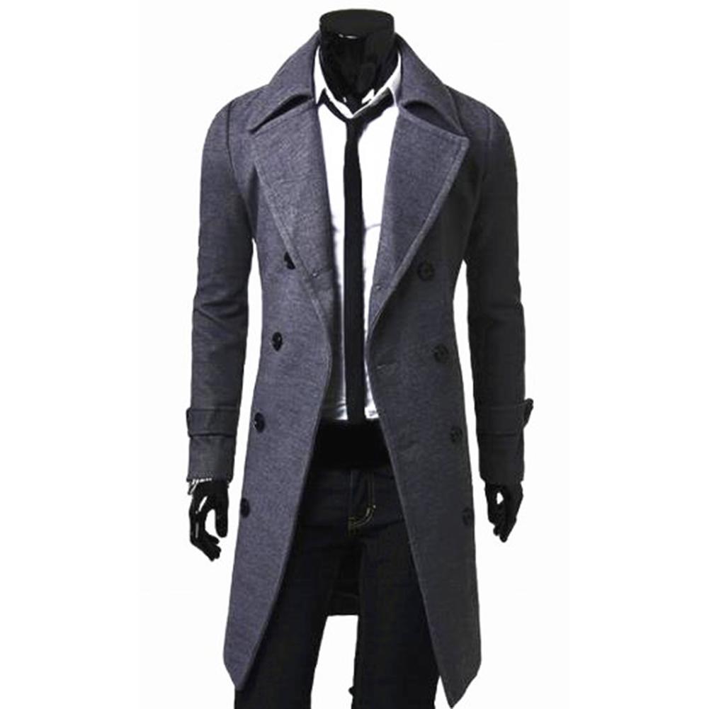 Long Trench Coat Warm Thicken Woolen Long Overcoat Quality Slim Black Male Overcoat gray_M