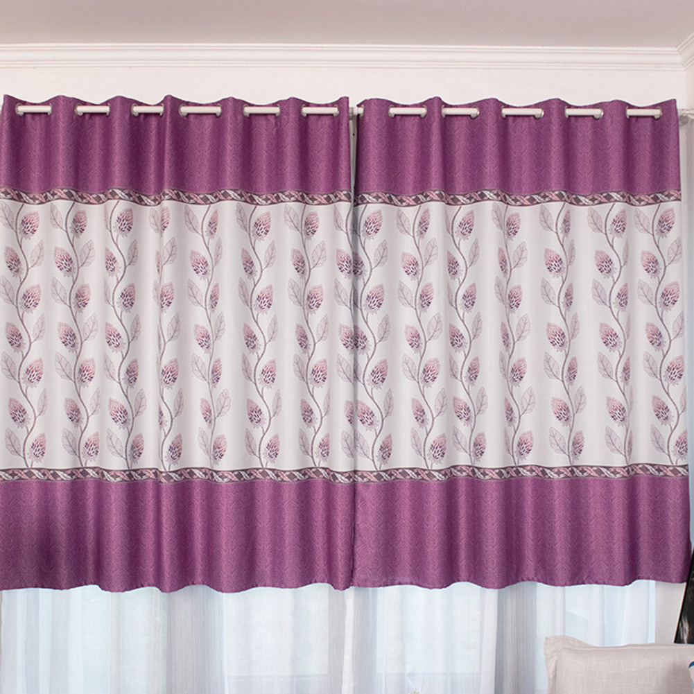 100*200cm Blackout Curtain Floral Print Perforated Drapes for Living Room Bedroom Balcony Decor purple_100*200cm (W*H)