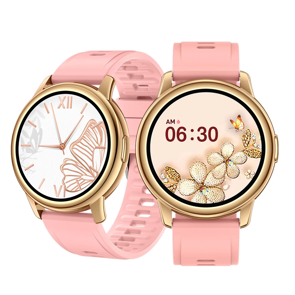 Lf28m Smart  Watch Women 1.28 Inch Full Touch Diy Watch Face Ip68 Waterproof Heart Rate Monitor Pink