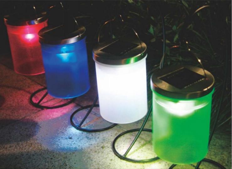 MaxSale Solar Power Hanging Cylinder Lanterns LED Landscape Path Outdoor Light