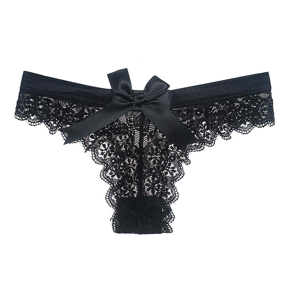 Women's Lingerie G-string Lace Sexy Thong Sheer Panties Style Transparent Panties black_M