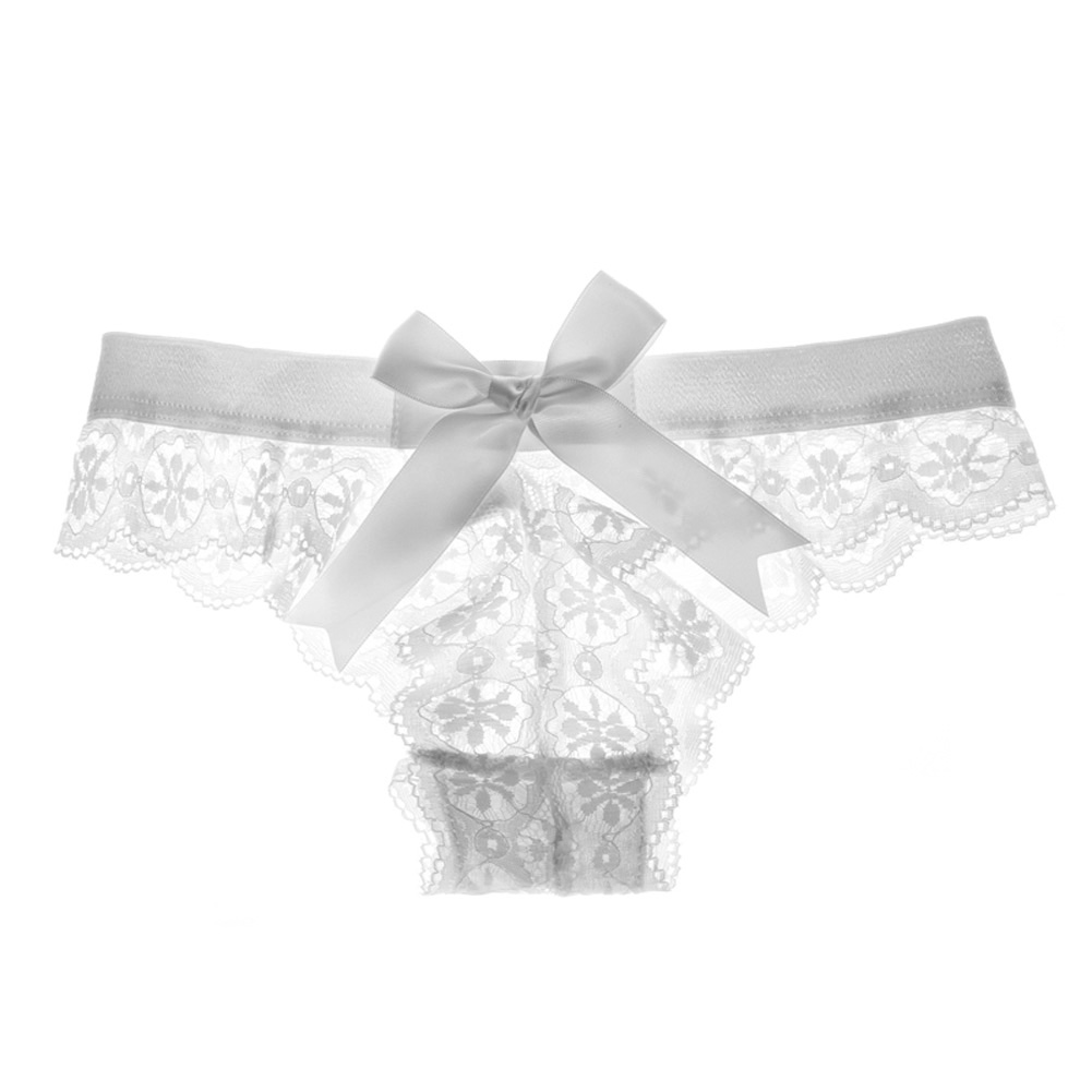 Women's Lingerie G-string Lace Sexy Thong Sheer Panties Style Transparent Panties white_L