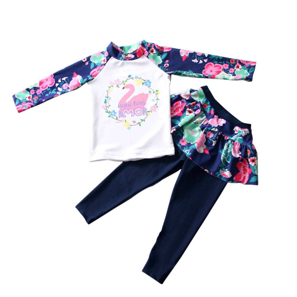 Kids Girls Cartoon Printing Quick Dry Long Sleeve Top Pants Muslim Swimwear Set Navy blue_XL