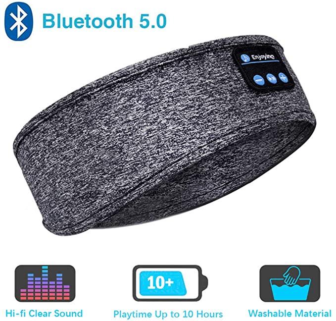 Sleep Headphones Bluetooth Headband-Wireless Sports Headband Headphones with Ultra-Soft Music Headband gray