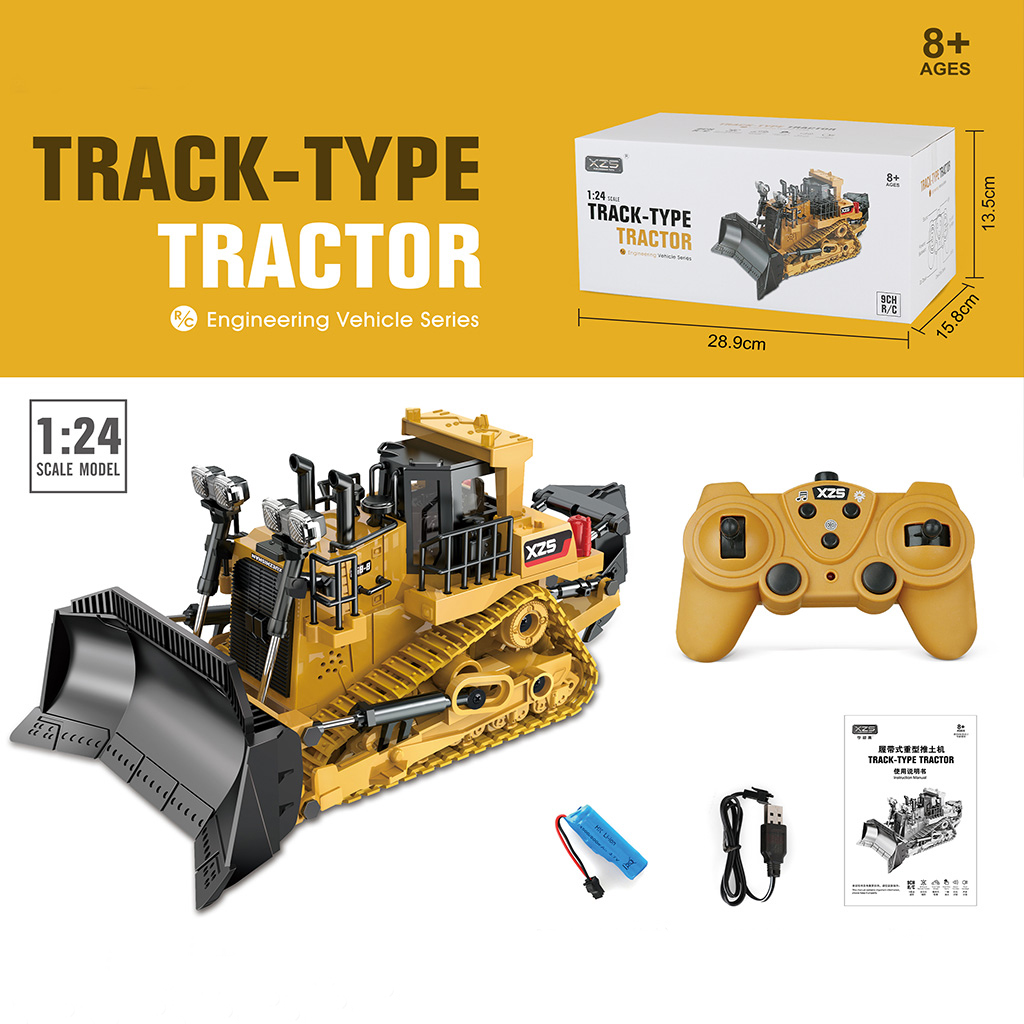 2.4g Remote  Control  Engineering  Vehicle Crawler Heavy-duty Bulldozer Shoveling Multi-function Toys ABS