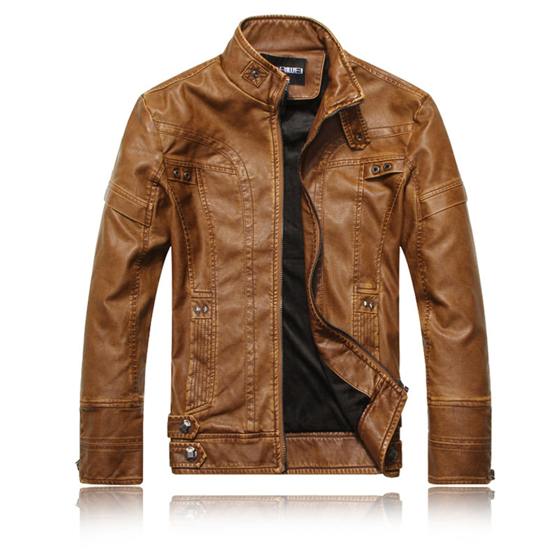 Men Motorcycle Leather Jacket Zipper Cool Fashionable Slim Fit PU Coat Top Khaki_L