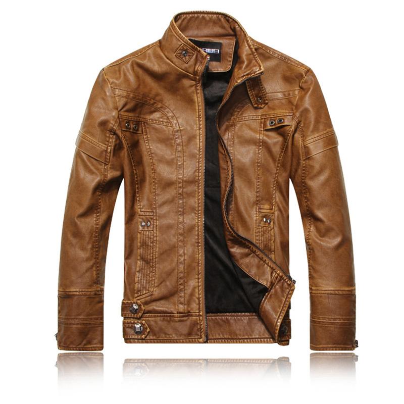 Men Motorcycle Leather Jacket Zipper Cool Fashionable Slim Fit PU Coat Top Khaki_XL