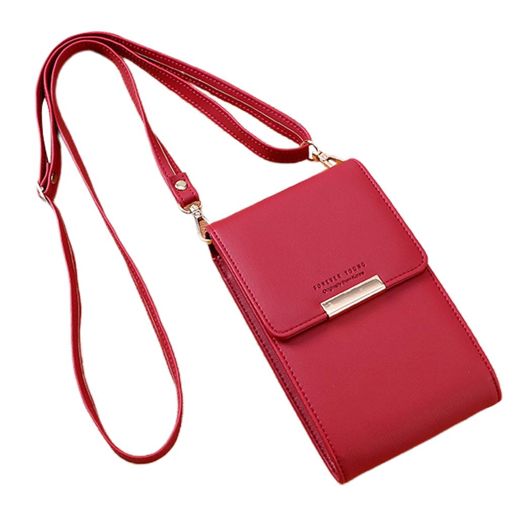 Women Pu Wallet Multifunctional Mini Mobile Phone Bag Messenger Bag wine red