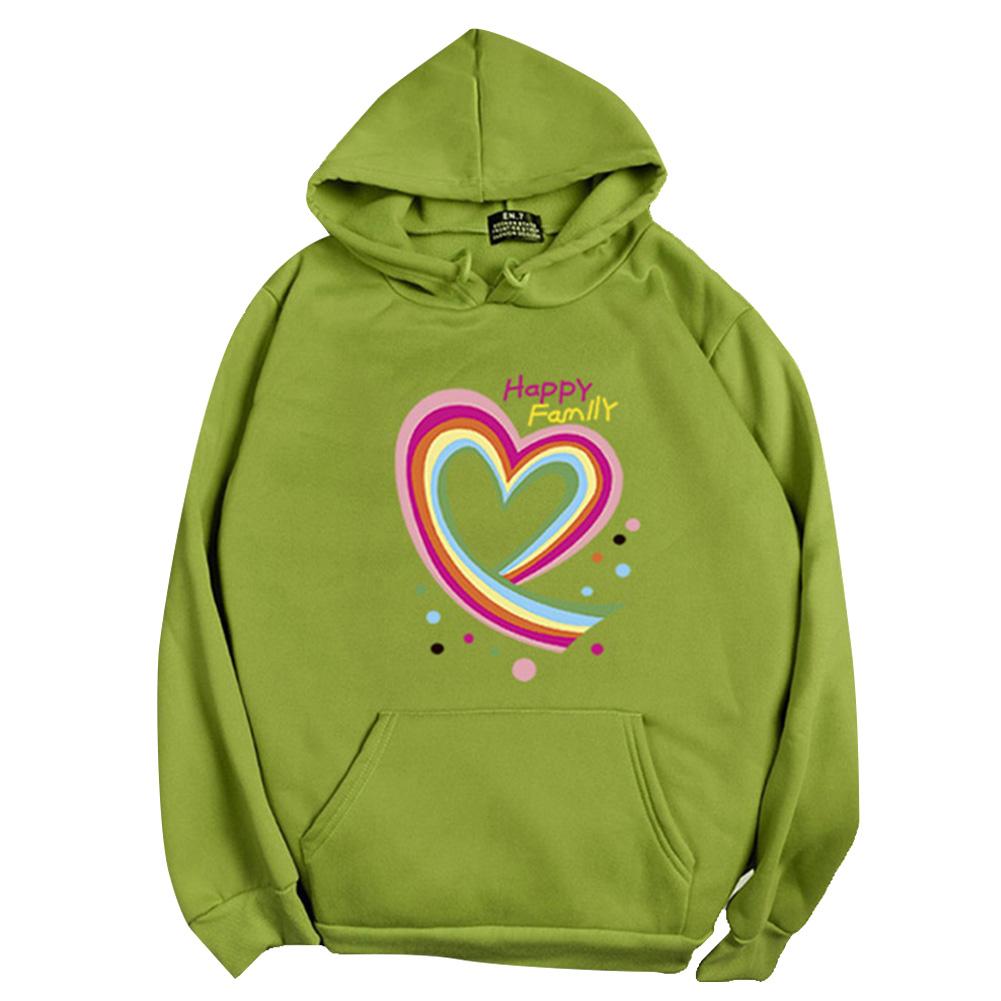 Men Women Hoodie Sweatshirt Happy Family Heart Loose Thicken Autumn Winter Pullover Tops Green_XXXL