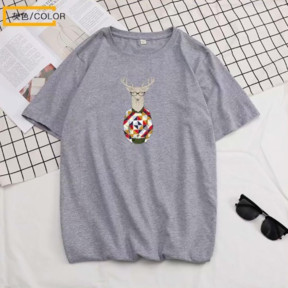 Men Summer Fashion Short-sleeved T-shirt Round Neckline Loose Printed Cotton Bottoming Top 632 gray_M