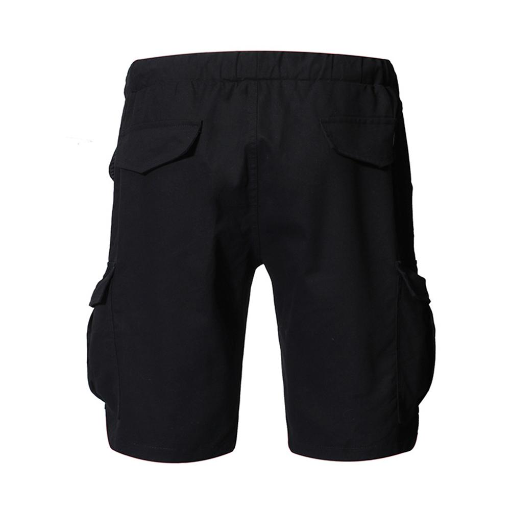 Large Size Men Fashion Pure Color Patchwork Leather Belt Casual Shorts black_L